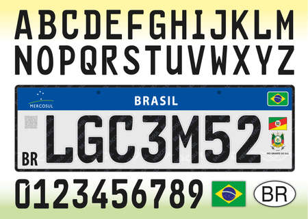 Brazil car license plate template with symbol, letters and numbers, mercosur serie, vector illustration