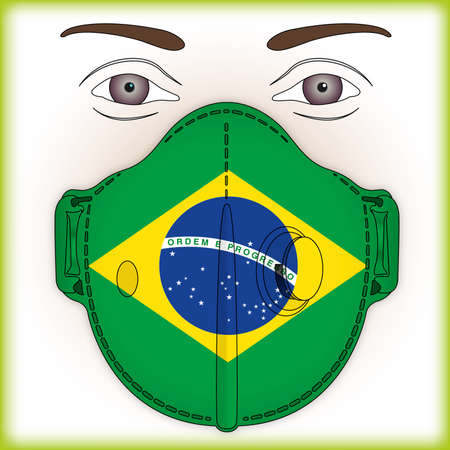 Antiviral mask for anti virus protection with Brazil flag, vector illustration