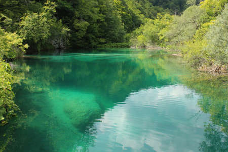 Plitvice lakes, Croatia, natural streams of water in the park