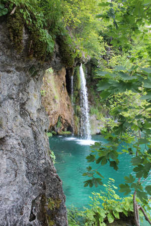 Plitvice lakes, Croatia, natural waterfalls and streams of water in the park Archivio Fotografico