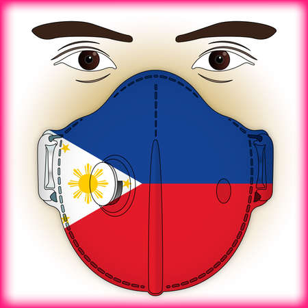 Antiviral mask for anti-covid protection with Philippines flag, vector illustration