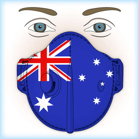 Antiviral mask for anti-covid protection with Australia flag, vector illustration
