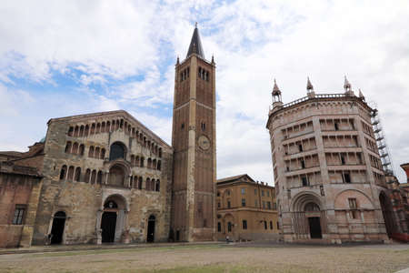 Parma, the Cathedral and the Baptistery, duomo square in the historical center of the city, Italy, Emilia Romagna Stock Photo