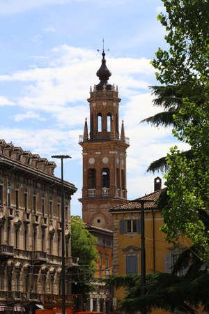 Parma, Emilia Romagna, Italy, detail of the municipal tower, touristic place 版權商用圖片