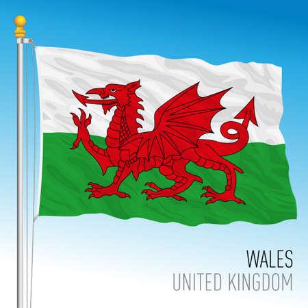Wales official flag, United Kingdom, vector illustration