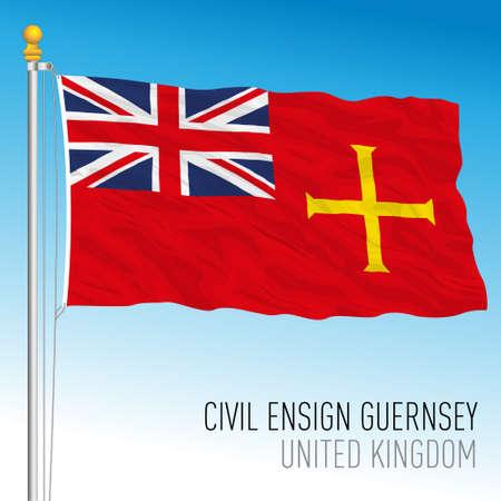 Civil flag of Guernsey, United Kingdom, vector illustration Vettoriali