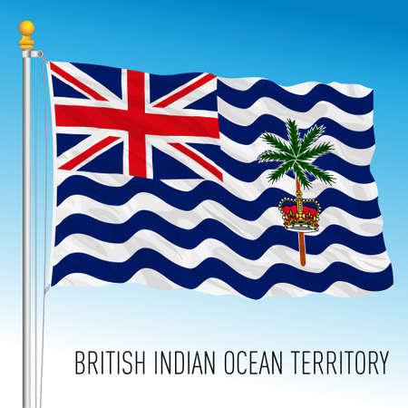 British Indian Ocean Territory, official national flag, vector illustration Vettoriali