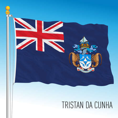 Tristan da Cunha british territory, official flag and seal, vector illustration