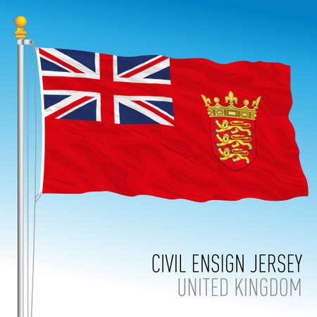 Civil flag of Jersey, United Kingdom, vector illustration
