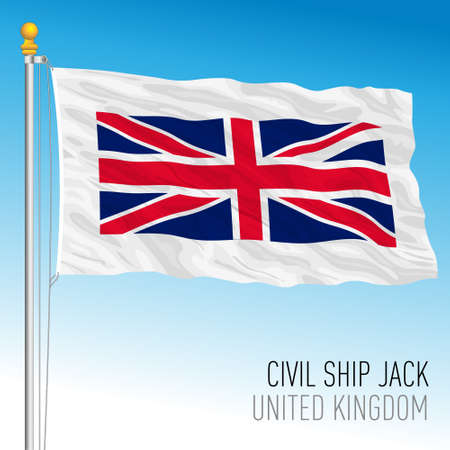 Jack flag used in the British civilian navy at the bow of the ship, United Kingdom, vector illustration