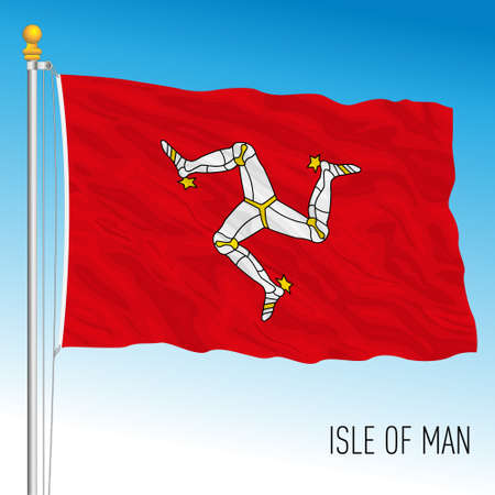 Isle of Man official national flag, british territory, vector illustration