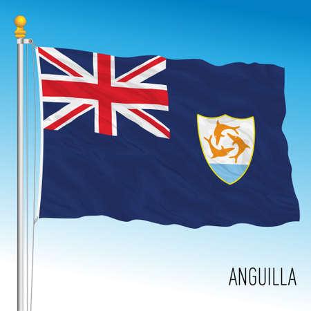 Anguilla british overseas territory flag, vector illustration