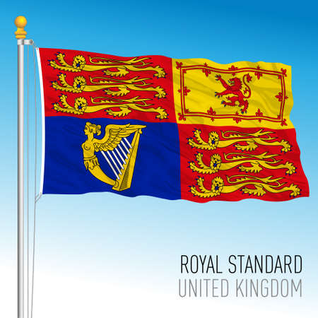 Royal Standard flag, banner of the Queen's Arms, United Kingdom, vector illustration