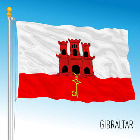 Gibraltar territory official flag, United Kingdom administration, vector illustration Vettoriali