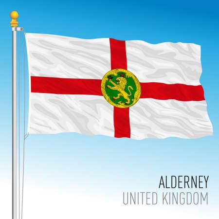 Alderney official flag, United Kingdom, vector illustration Vettoriali
