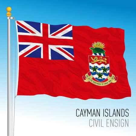 Cayman Islands official civil flag, United Kingdom overseas territory, vector illustration