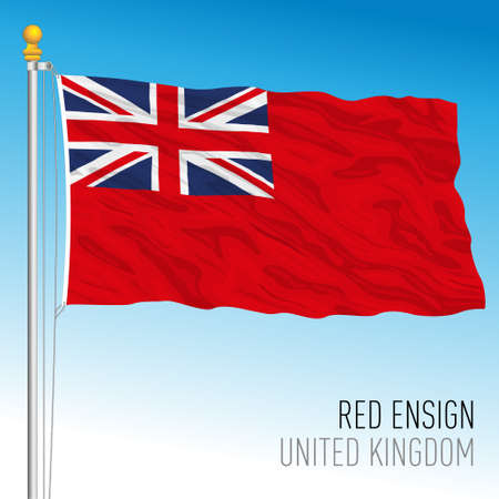 Red British ensign naval flag used at sea or by national navies associated with the United Kingdom, vector illustration Vettoriali