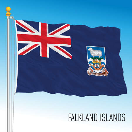 Falkland official national flag, south america, british territory, vector illustration