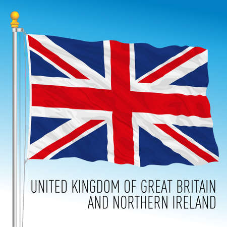 United Kingdom official national flag, european country, vector illustration Vettoriali