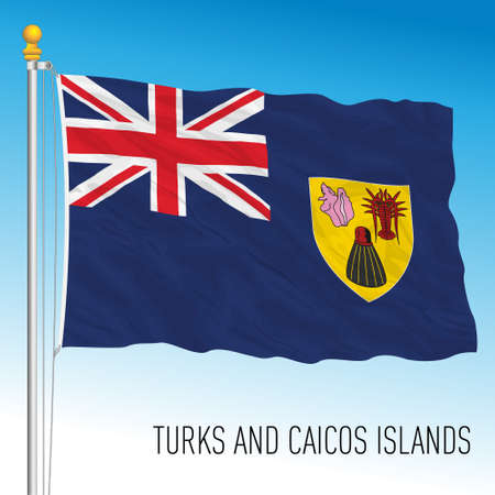 Turks and Caicos islands official national flag, vector illustration