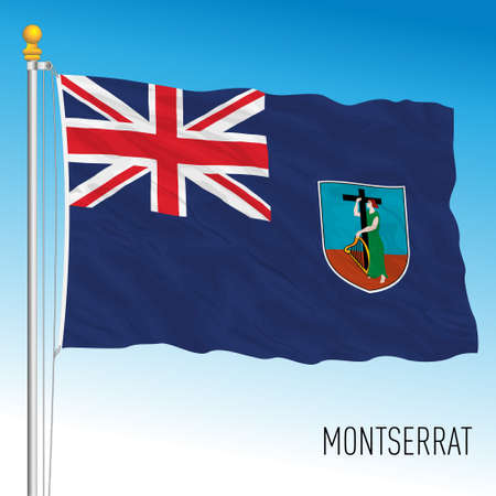 Montserrat official national flag, UK, vector illustration