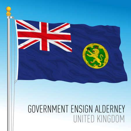 Alderney government flag, United Kingdom, vector illustration Vettoriali