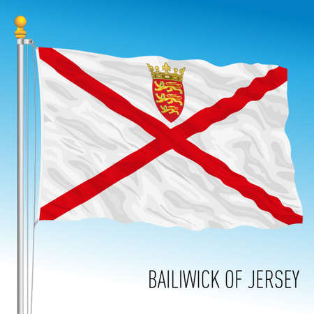 Bailiwick of Jersey official national flag, european country, UK, vector illustration Vettoriali