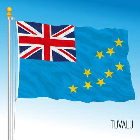 Tuvalu official national flag, oceania, vector illustration Vettoriali
