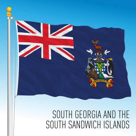 South Georgia and South Sandwich islands official national flag, vector illustration Vettoriali