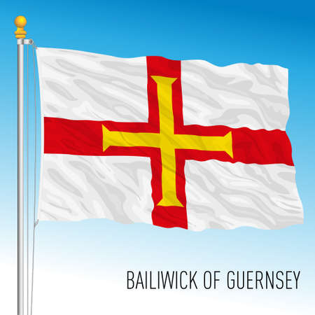 Bailiwick of Guernsey official national flag, european country, vector illustration Vettoriali