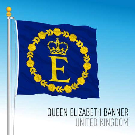 Flag of Queen Elizabeth, United Kingdom, vector illustration Vettoriali