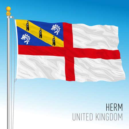 Official flag of Herm, United Kingdom, vector illustration