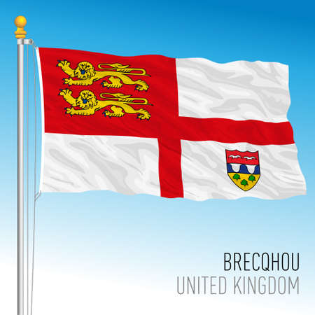 Brecqhou official flag, United Kingdom, vector illustration
