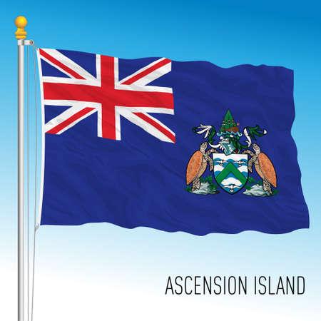 Ascension Island flag, british territory, vector illustration