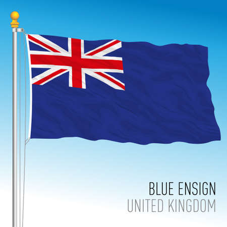 British blue ensign flag used by certain organizations or territories associated with the United Kingdom, vector illustration Illustration