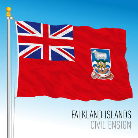 Falkland official civil ensign flag, south america, british territory, vector illustration Vettoriali