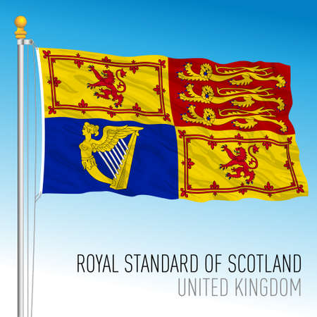 Royal Standard flag in Scotland, banner of the Queen's Arms only in Scotland, United Kingdom, vector illustration