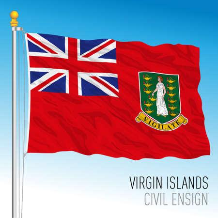 British Virgin islands civil ensign flag, United Kingdom overseas territory, vector illustration Vettoriali