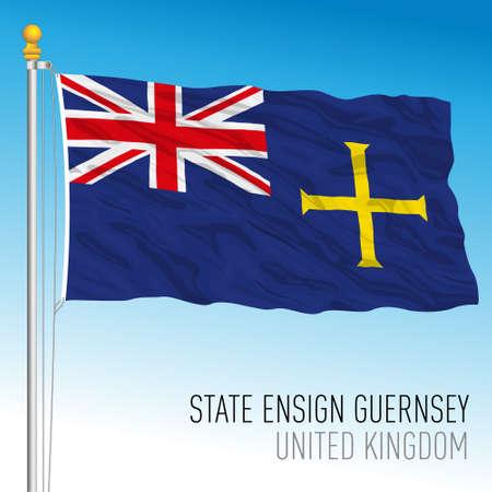 State flag of Guernsey, United Kingdom, vector illustration