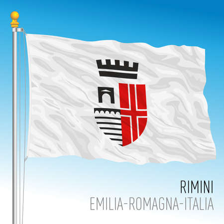 Rimini official flag of the city, Emilia-Romagna, Italy, vector illustration