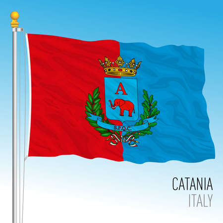 City of Catania official flag, Sicily, Italy, vector illustration