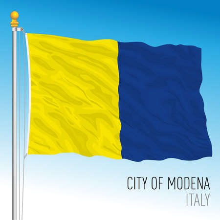 Modena city official flag with coat of arms, Emilia-Romagna, Italy, vector illustration Vettoriali