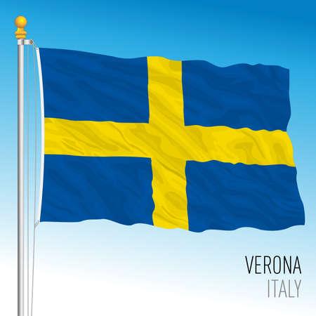 City of Verona official flag, Veneto, Italy, vector illustration