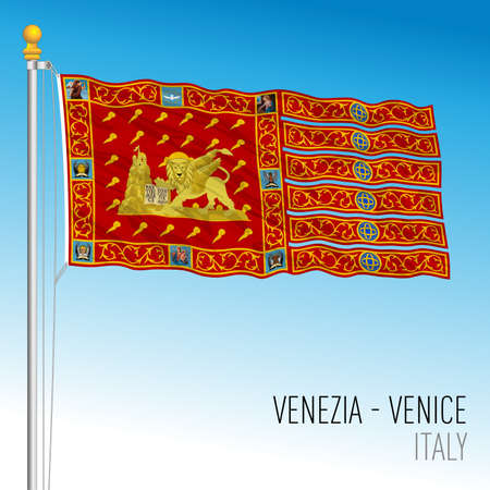 City of Venice flag, Veneto, Italy, vector illustration Stockfoto - 153707113