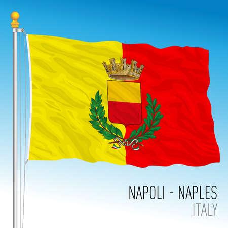 City of Naples flag, Campania, Italy, vector illustration Vettoriali