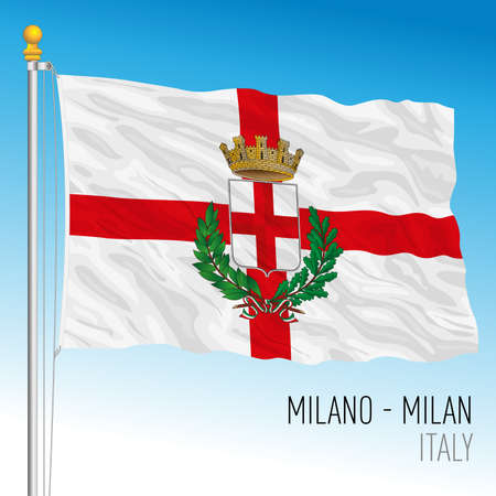 City of Milan official flag, Lombardy, Italy, vector illustration