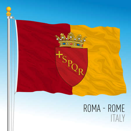 City of Rome official flag, Lazio, Italy, vector illustration Stock Illustratie