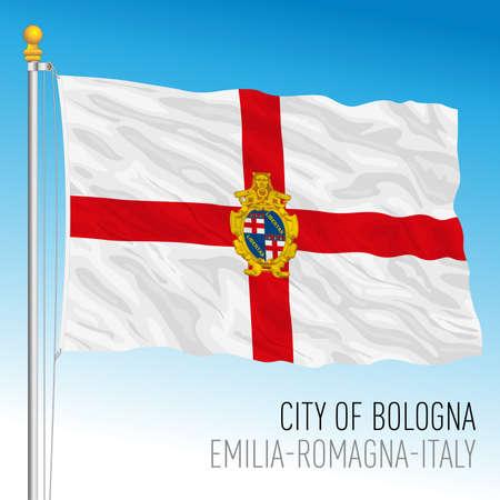 City of Bologna official flag, Emilia Romagna, Italy, vector illustration