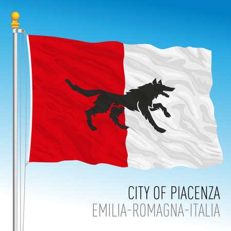Piacenza, Emilia -Romagna, Italy, flag of the city, vector illustration