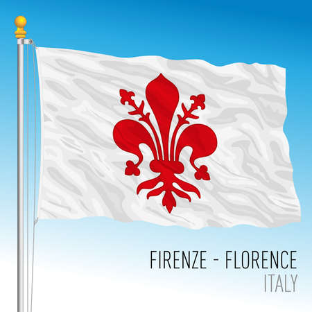City of Florence official flag, Tuscany, Italy, vector illustration 免版税图像 - 153724572